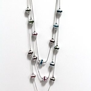 Handmade Glass Triple Necklace 26 inch